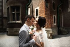 ?berraschende l?chelnde Hochzeitspaare Hübsche Braut und stilvoller Bräutigam nahe der Kirche lizenzfreies stockbild