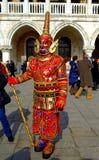 Überraschende verkleidete Person Venedig Stockbild