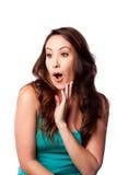 Überraschte überraschte junge Frau Stockfotos