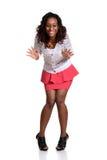 Überraschte junge schwarze Frau Stockfotografie