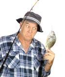 Überraschter Fischer Stockfotos