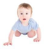 Überraschtes Babykleinkind lokalisiert auf Weiß Lizenzfreie Stockfotos