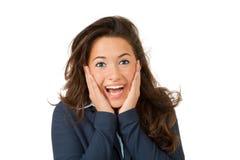 Überraschung der jungen Frau, lokalisiert auf weißem Hintergrund Stockbild