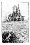 Überreste der gebrannten Kirche Stockfotografie