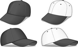Berretti da baseball in bianco e nero Fotografie Stock Libere da Diritti