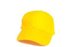 Berretto da baseball giallo in bianco Immagini Stock Libere da Diritti