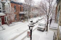 Berri-Straße während des Schneesturms Lizenzfreie Stockfotografie
