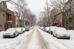 Berri Street during snow storm Royalty Free Stock Photography
