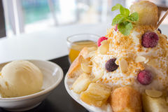 Berried Bingsu. With ice cream and honey royalty free stock images