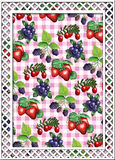 Berries. Various berries on gingham in a trellis border vector illustration