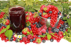 Berries. Strawberries, red currants, raspberries and blueberries on white with a bucket and a marmalade jar stock photo