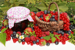 Berries. Strawberries, red currants, raspberries and blueberries on white with a basket and a marmalade jar royalty free stock images