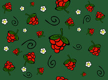 Berries. Seamless texture of berries, flowers and spiral on green background Royalty Free Illustration