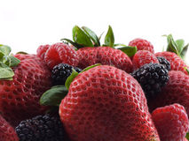 Berries. Strawberries, raspberries, and blackberries on white Stock Photography