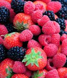 Berries. Some delicious ripe raspberries,strawberries and blackberries Stock Photography