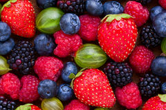 Berries Background macro, selective focus. Royalty Free Stock Images