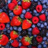 Berries Background. Strawberries, Blueberry, Raspberries. And Blackberry Stock Photography