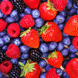 Berries Background. Strawberries, Blueberry, Raspberries Stock Photo