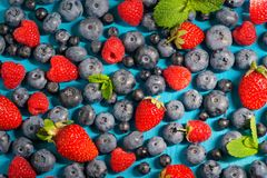 Berries Background. Strawberries, Blueberry, Raspberries, and Blackberry. Royalty Free Stock Photography