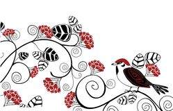 Berries and bird. Vector drawing of bird and strawberry Royalty Free Stock Photos