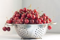 Berries of black cherries in a colander, two berries hang Stock Photography