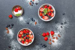 Berries, Blueberries, Bowls Royalty Free Stock Photo