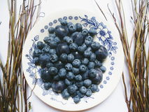 Berries of blueberries and plums on a white plate Stock Photos