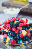 Berries in a Bowl. An assortment of berries and fruit in a glass bowl sitting atop a counter Royalty Free Stock Photography