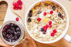 Berries in a bowl of muesli Stock Photography
