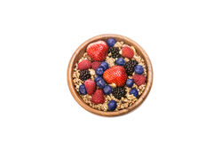 Berries. Bowl of oatmeal with berries with clipping path Royalty Free Stock Photos