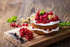 Berries butter layer cake with whipped cream topping Stock Images