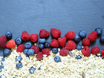 Berries and cereal healthy food Stock Images