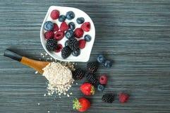 Berries cereal yogurt stock image