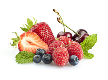 Berries & Cherries with mint leaves Royalty Free Stock Photo