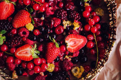 Berries chocolate cake stock images