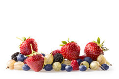 Berries. A collection of Summer berries, strawberries, blueberries, gooseberry and raspberries Royalty Free Stock Images