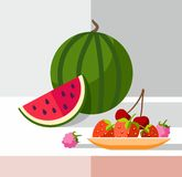 Berries, coloured illustrations. Ripe berries are on the table, vector picture. Color flat illustration Stock Images
