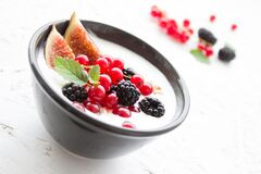 Berries and cream  Royalty Free Stock Image