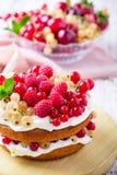 Berries and cream sponge layer cake Royalty Free Stock Photo