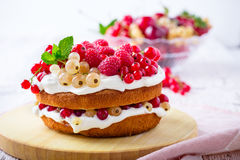Berries and cream sponge layer cake Stock Photography