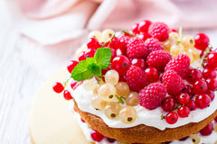 Berries and cream sponge layer cake Royalty Free Stock Images