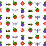 Berries and cute insects royalty free illustration