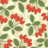 Berries of dog rose. On a yellow background in seamless pattern Stock Image