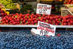 Berries at the farmers market in Poland. Stock Photo