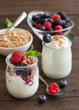 Berries, flakes and fresh greek yogurt Royalty Free Stock Photo