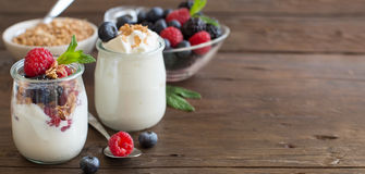 Berries, flakes and fresh greek yogurt Stock Photos