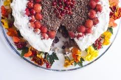 Berries and flowers cream cake Stock Photo
