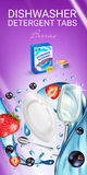 Berries fragrance dishwasher detergent tabs ads. Vector realistic Illustration with dishes in water splash, strawberry and blackcu Royalty Free Stock Images