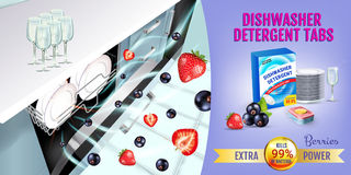 Berries fragrance dishwasher detergent tabs ads. Vector realistic Illustration with dishwasher in kitchen counter and detergent pa Stock Photo