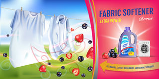 Berries fragrance fabric softener gel ads. Vector realistic Illustration with laundry clothes and softener rinse container. Horizo. Vector realistic Illustration Stock Photos